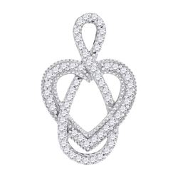 0.15 CTW Diamond Captured Infinity Heart Pendant 10KT White Gold - REF-14H9M