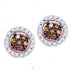0.25 CTW Cognac-brown Color Diamond Flower Stud Earrings 10KT Rose Gold - REF-14K9W