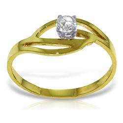 Genuine 0.15 ctw Diamond Anniversary Ring Jewelry 14KT Yellow Gold - REF-42V2W