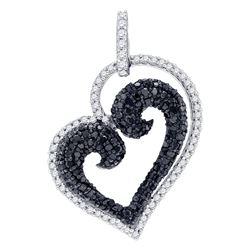 0.85 CTW Black Color Diamond Curled Heart Love Pendant 10KT White Gold - REF-37Y5X