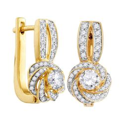 0.74 CTW Diamond Swirled Cluster Hoop Earrings 10KT Yellow Gold - REF-85M4H