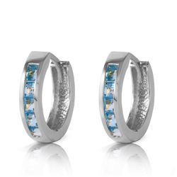 Genuine 1.20 ctw Blue Topaz Earrings Jewelry 14KT White Gold - REF-37F6Z