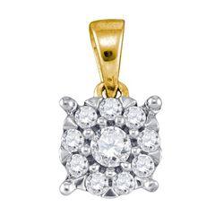 0.26 CTW Diamond Flower Cluster Pendant 10KT Yellow Gold - REF-22X4Y