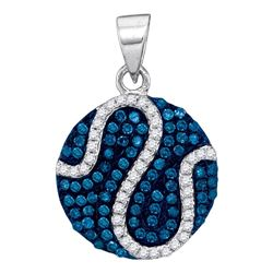 0.45 CTW Blue Color Diamond Circle Pendant 10KT White Gold - REF-22X4Y