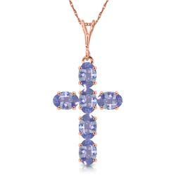Genuine 1.50 ctw Tanzanite Necklace Jewelry 14KT Rose Gold - REF-44R7P