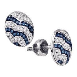 0.20 CTW Blue Color Diamond Cluster Earrings 10KT White Gold - REF-25N4F