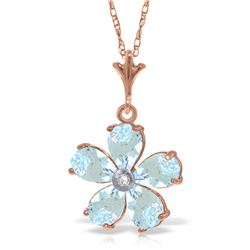 Genuine 2.22 ctw Aquamarine & Diamond Necklace Jewelry 14KT Rose Gold - REF-36H3X