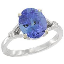 Natural 2.4 ctw Tanzanite & Diamond Engagement Ring 14K White Gold - REF-80F3N