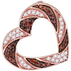 0.50 CTWRed Color Diamond Heart Outline Pendant 10KT Rose Gold - REF-25W4K