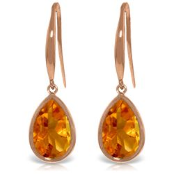 Genuine 5 ctw Citrine Earrings Jewelry 14KT Rose Gold - REF-35Z2N