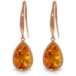 Genuine 5 ctw Citrine Earrings Jewelry 14KT Rose Gold - REF-35Z2N