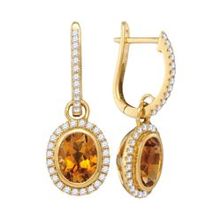 1.44 CTW Oval Citrine Diamond Dangle Hoop Earrings 14KT Yellow Gold - REF-104X9Y