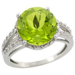 Natural 5.19 ctw Peridot & Diamond Engagement Ring 10K White Gold - REF-42Y8X