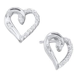 0.16 CTW Diamond Heart Love Stud Earrings 14KT White Gold - REF-19F4N