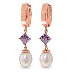 Genuine 9.5 ctw Pearl & Amethyst Earrings Jewelry 14KT Rose Gold - REF-53R2P
