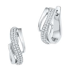 0.25 CTW Diamond Diagonal Double Row Hoop Earrings 10KT White Gold - REF-28K4W