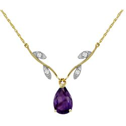Genuine 1.52 ctw Amethyst & Diamond Necklace Jewelry 14KT Yellow Gold - REF-30H7X