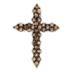 0.52 CTW Cognac-brown Color Diamond Cross Pendant 10KT White Gold - REF-19W4K