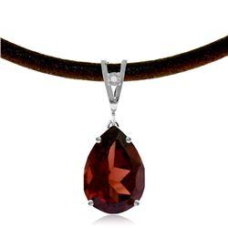 Genuine 6.01 ctw Garnet & Diamond Necklace Jewelry 14KT White Gold - REF-49P2H