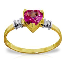 Genuine 0.98 ctw Pink Topaz & Diamond Ring Jewelry 14KT Yellow Gold - REF-31Y2F