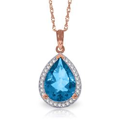 Genuine 4.66 ctw Blue Topaz & Diamond Necklace Jewelry 14KT Rose Gold - REF-70K6V