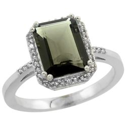 Natural 2.63 ctw Smoky-topaz & Diamond Engagement Ring 14K White Gold - REF-42G8M