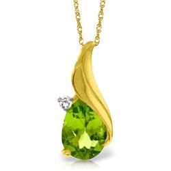 Genuine 2.03 ctw Peridot & Diamond Necklace Jewelry 14KT Yellow Gold - REF-35A9K