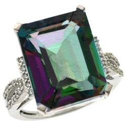 Natural 12.14 ctw Mystic-topaz & Diamond Engagement Ring 14K White Gold - REF-66R2Z