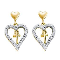 0.33 CTW Diamond Heart Cross Dangle Earrings 14KT Yellow Gold - REF-33X7Y