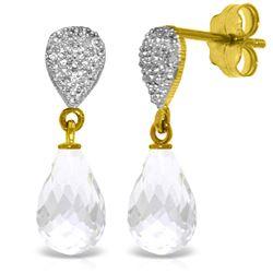 Genuine 4.53 ctw White Topaz & Diamond Earrings Jewelry 14KT Yellow Gold - REF-25P6H