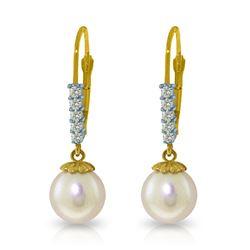 Genuine 4.15 ctw Pearl & Diamond Earrings Jewelry 14KT Yellow Gold - REF-34X7M