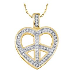 0.15 CTW Diamond Heart Peace Sign Pendant 10KT Yellow Gold - REF-20F9N