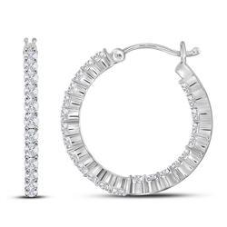 1.96 CTW Diamond Single Row Hoop Earrings 14KT White Gold - REF-134Y9X