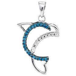 0.11 CTW Blue Color Diamond Dolphin Animal Pendant 10KT White Gold - REF-10H5M