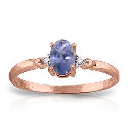 Genuine 0.46 ctw Tanzanite & Diamond Ring Jewelry 14KT Rose Gold - REF-27F8Z