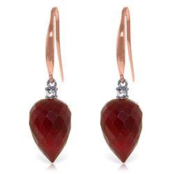 Genuine 26.2 ctw Ruby & Diamond Earrings Jewelry 14KT Rose Gold - REF-43T3A