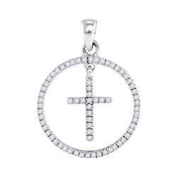 0.25 CTW Diamond Cross Circle Pendant 10KT White Gold - REF-18X2Y