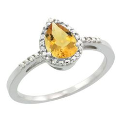 Natural 1.53 ctw citrine & Diamond Engagement Ring 14K White Gold - REF-25W5K
