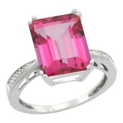 Natural 5.42 ctw Pink-topaz & Diamond Engagement Ring 14K White Gold - REF-61V9F