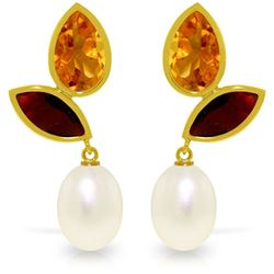 Genuine 16 ctw Pearl, Garnet & Citrine Earrings Jewelry 14KT Yellow Gold - REF-42Z2N