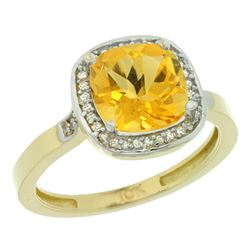 Natural 3.94 ctw Citrine & Diamond Engagement Ring 10K Yellow Gold - REF-29Z2Y
