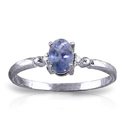 Genuine 0.46 ctw Tanzanite & Diamond Ring Jewelry 14KT White Gold - REF-27N8R