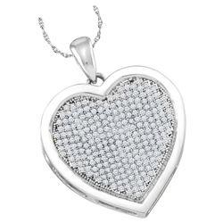 0.50 CTWDiamond Heart Love Pendant 10KT White Gold - REF-44W9K