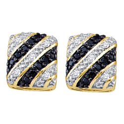 0.25 CTW Black Color Diamond Square Cluster Stud Earrings 10KT Yellow Gold - REF-30F2N