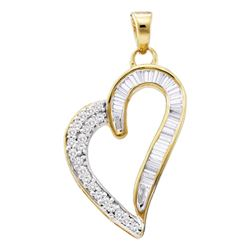 0.26 CTW Diamond Heart Pendant 10KT Yellow Gold - REF-13Y4X