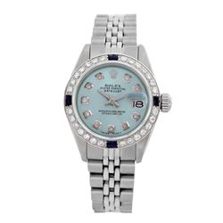 Rolex Pre-owned 26mm Womens Custom Light Blue Stainless Steel - REF-470W4Y