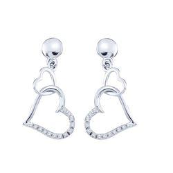 0.10 CTW Diamond Linked Hearts Dangle Screwback Earrings 10KT White Gold - REF-10Y5X
