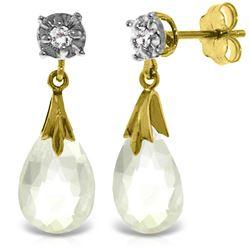 Genuine 6.06 ctw White Topaz & Diamond Earrings Jewelry 14KT Yellow Gold - REF-37X4M