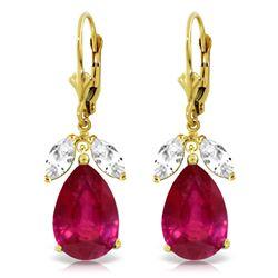 Genuine 11 ctw White Topaz Earrings Jewelry 14KT Yellow Gold - REF-95R3P