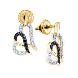 0.30 CTW Black Color Diamond Heart Stud Earrings 10KT Yellow Gold - REF-26F9N